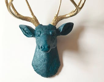 DARK PEACOCK BLUE GoLD Deer Head Faux Taxidermy Large Stag Head wall mount Blue Deer Head Wall Art Woodland decor Kids Room Office Wall Deco
