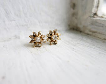 Small Vintage Diamond Rositas Flower Earrings in 14K Gold