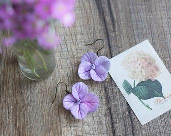 Dangle flower earrings - purple flower earrings - hydrangea earrings - hydrangea jewelry - flower earrings - garden wedding