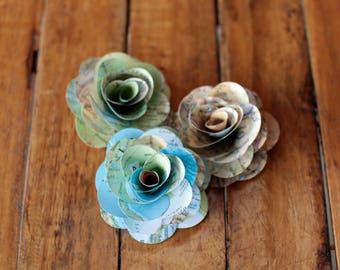30 Pcs Maps Paper Roses for Weddings and Craft Projects