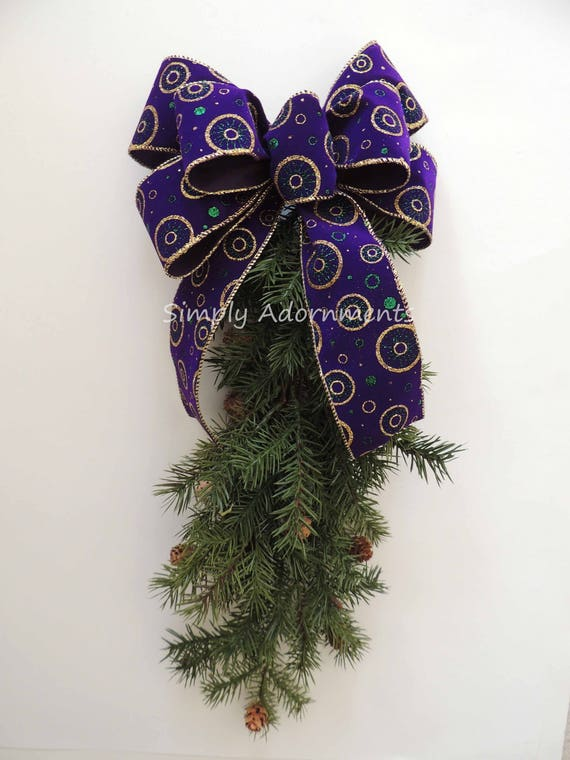 Purple Gold Bow Mardi Gras Christmas Lantern Bow Purple Gold Christmas Wreath Bow Purple Gold Christmas Swag Bow Mardi Gras Holiday Gift bow