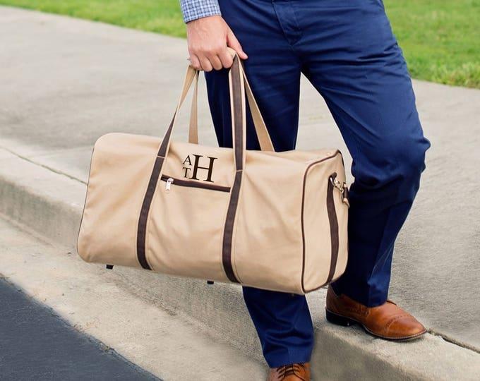 Monogrammed Duffle Bag, Groomsmen Gifts, Gifts for him, Men's Weekender Bag, Men's Duffle Bag