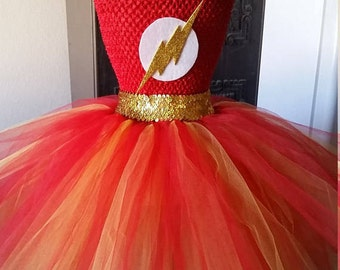 Birthday Flash Costume Tutu Dress with Mask Halloween Party