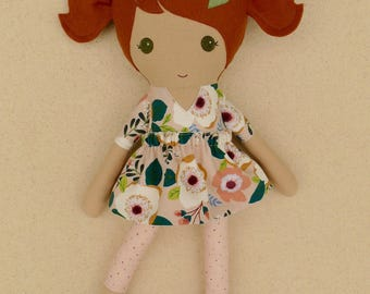 Fabric Doll Rag Doll Cinnamon-Brown Haired Girl Doll in Pink and Green Floral Dress