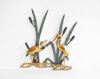 Vintage brass crane, bird wall hanging, crane decor Mid-Century 60s Ref: 301