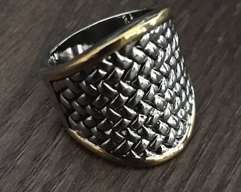 Wide Basketweave Band with Tapered Ring Shank in High Luster Silver and Goldtone Finish - Statement Ring - Comfy to Wear