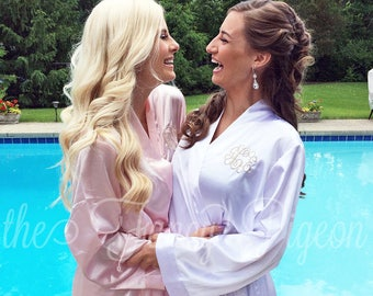 BRIDESMAIDS ROBES - Blush Satin Robes - Monogrammed Robes - Bridal Party Robes - Bridesmaid Gift - Bridal Robe - Spa Robe - Bridesmaid Robes