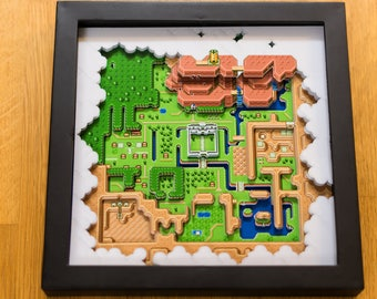 Legend of Zelda - A Link to the Past - Hyrule Map SNES Shadowbox