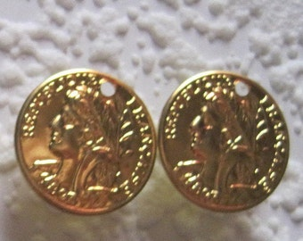 Republique, Francaise, 16MM, French, France, Replica, Gold, Round, Coin, Charms, Stamping,