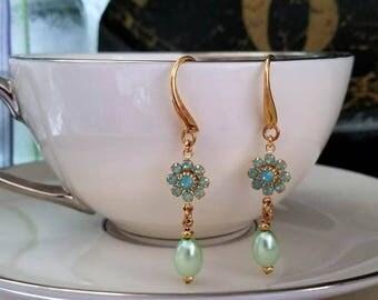 pearl earrings, pearl jewelry, crystal jewelry, Swarovski earrings, crystal earrings, hypoallergenic earrings, nickel free earrings