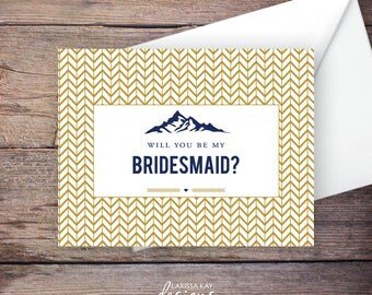 Printable Mountain Will You Be My Bridesmaid Card, Gold and Navy, Instant Download Greeting Card, Be My Bridesmaid, Wedding Card – Heather
