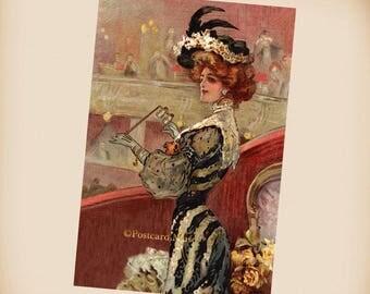 Art Nouveau Theater Lady - New 4x6 Vintage Postcard Image Photo Print - IL05