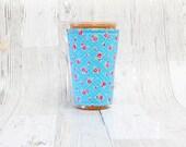 Vintage Floral Iced Coffee Cozy, Coffee Cuff, Coffee Cozy, Cup Sleeve, Blue Cup Cozy