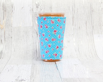 Vintage Floral Iced Coffee Cozy, Coffee Cuff, Coffee Cozy, Cup Sleeve, Blue Cup Cozy