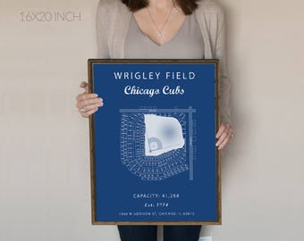 Wrigley Field Sign, Chicago Cubs, Wrigley Field seating chart, Gift for cubs Fan, vintage cubs, gift for him under 30. MLB stadium art. cubs
