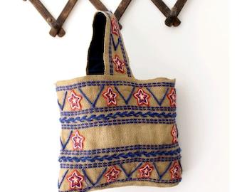 Vintage Burlag bag embroidered red and navy stars  / Vintage ethnic bag