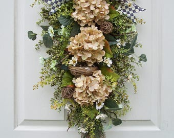 Fall~Beautifully Neutral with Green Accents~ Front Door Floral Swag~Hydrangea~Bird Nest~Timeless Floral Creations