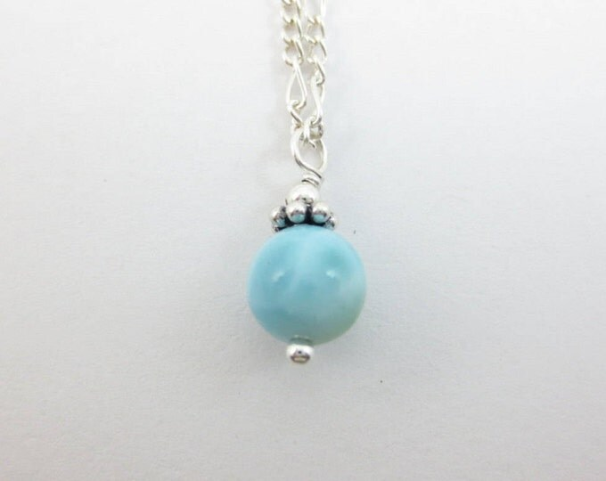 Larimar Pendant - Bead Pendant - 6 mm - 7 mm - Sterling Silver - 14k Gold Fill