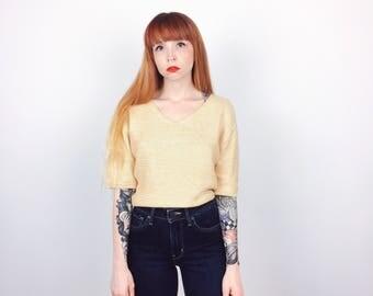 Minimalist Spun Silk Beige Knit Slouchy Top Blouse // Women's size Small S
