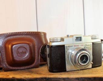 1950s Kodak Pony 135 Camera with Field Case, Vintage