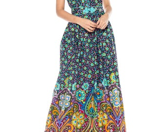 Rare Early 1970s Oscar De La Renta Cotton Floral Dress Size: 6