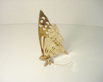 Vintage Brass Butterfly -  Flying Insect Figurines  - Shelf Decoration - Brass Ornament