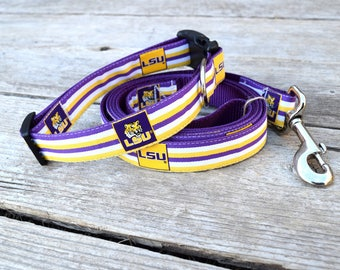 "LSU Dog Collar. 1"" wide, available in M, L, XL"