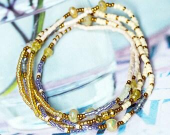 Mystic Moonstone Bracelet, Moonstone Bracelet, Wrap Bracelet, Seed Bead Jewelry, Beaded Wrap Bracelet, Stretch Bracelet, Boho Bracelet