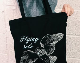 Flying Solo Embroidered Valentines Tote Shopper Bag
