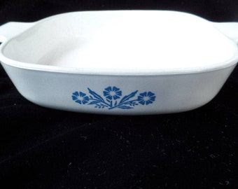 Corningware Blue Corn Flower Baking Dish, Casserole Dish, Anchor Hocking Cornflower Blue by Corning, Centua Blue Floral on White