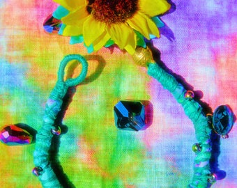 Rustic Brass Bell Tie Dyed Turquoise Purple Soft Fabric Bracelet Glass Aurora Electroplated Beads