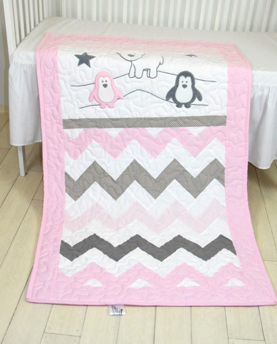 Pink Gray Penguin Baby Blanket,  Handmade Crib Quilt for Baby Girl