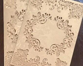 Lasercut Luxury Wedding invitation Sleeve - SET OF 10- Laser Cut  Wedding Invitation Pockets - Gold Laser Cut Custom Pocket - Invitecouture