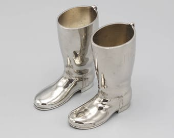 A Pair of Silver Plated Riding Boots 1 oz and 1.5 oz Alcohol Measures 1960s