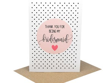 Thank You for being my Bridesmaid Card | Wedding Card | Blush Thank You Card Circle | WED071 | Thank You Bridesmaid | Bridesmaid Thank You