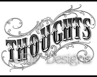Instant Digital Download, Vintage Victorian Graphic, Thoughts Text, Antique Printable Image, Banner, Scrapbook, Steampunk Typography, Sign
