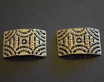 Musi Shoe Clips Antique Gold Rectangular Vintage