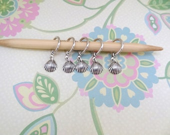 Set of 5 Silver Sea Shell Snag Free Stitch Markers for Knitting, Knitting Marker, Progress Marker, WIP Marker,Knittng Notions