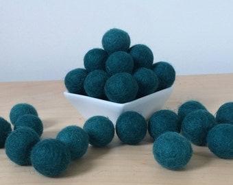 Felt Balls: EMERALD, Felted Balls, DIY Garland Kit, Wool Felt Balls, Felt Pom Pom, Handmade Felt Balls, Blue Felt Balls, Blue Pom Poms