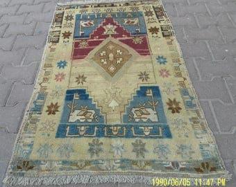 2 by 4 rug / Vintage Oushak Rug / Vintage Rug / Turkish Oushak Rug / Distressed Rug / Oushak Rug / Area Rug / Kitchen Rug / Low pile Oushak