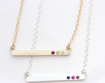 Solid 14K Gold or Sterling Silver Birthstone Bar Necklace, Cross Bar Necklace, Mothers Day Jewelry, Birthstone Necklace, Gift for Mom