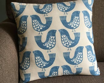 Love Birds blue cushion cover 16 inch scandi style capri blue cotton pillow cover