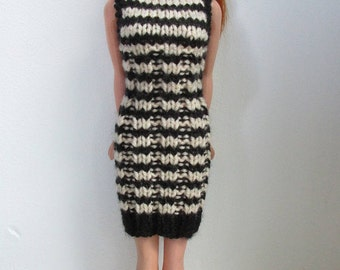 Barbie clothes - striped black and beige dress