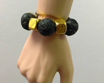 Fashion Doll Stretch Bracelet Jewelry - Lava Stone Bracelet with Gold Cube Accents for Fashion Royalty Hommes, Ken, Action Figures etc