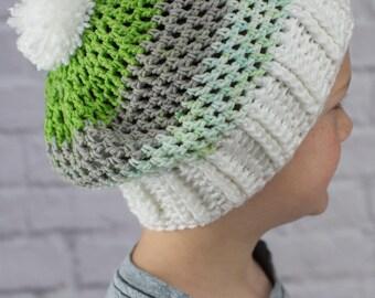 Kid's Crochet Slouchy Beanie / Hat With Pom Pom, Green, White, Tan, Size Fits Kids through Teens