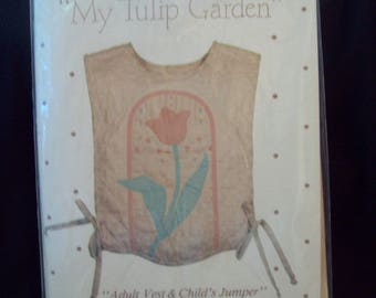 Appliqued Vest (Sizes 8-12) or Child's Jumper (Sizes 4-6/6-8) My Tulip Garden Pattern TG925 St. Nicole Designs Marilyn Ginsburg Uncut