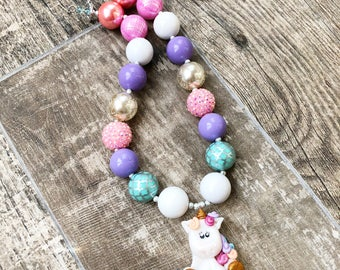 Unicorn Bubblegum Necklace, Clay Unicorn Chunky Necklace, Unicorn Pastel Jewelry, Toddler Unicorn, Newborn, Photo Prop, Unicorns