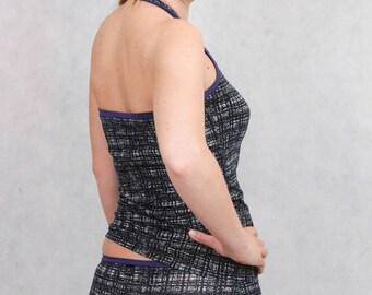 Black Grey Halter Top, Black Grey Neckholder Top, Halterneck Top, Grey Top, Black and White, 50s Top, Halter Top, Yoga Top, Yoga Halter Top