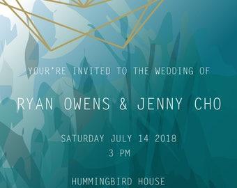 Jewel tone green/blue digital wedding invitation, digital watercolor wedding invitation, digital geometric wedding invitation