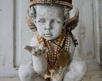 Ornate cherub statue wearing rusty rhinestone crown French Santos inspired distressed painted angel figure handmade decor anita spero design